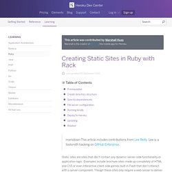 Creating Static Sites in Ruby with Rack