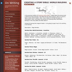 Creating a Story Bible: World Building