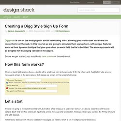 Creating a Digg Style Sign Up Form