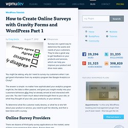 Creating Online Surveys with Gravity Forms and WordPress Part 1