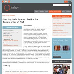 Creating Safe Spaces: Tactics for Communities at Risk