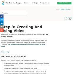 Step 9: Creating and Using Video – Teacher Challenges