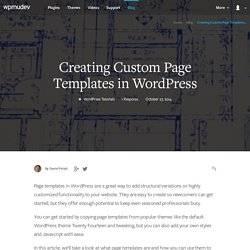 Creating Custom Page Templates in WordPress