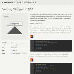 Creating Triangles in CSS « Jon Rohan's Web Developer Field Guide