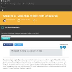 Creating a Typeahead Widget with AngularJS