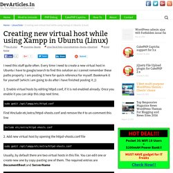 Creating new virtual host while using Xampp in Ubuntu (Linux) - DevArticles.In