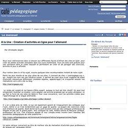A la Une : Création d'activités en ligne pour l'allemand