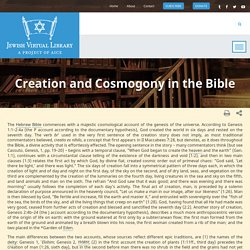 Creation and Cosmogony in the Bible