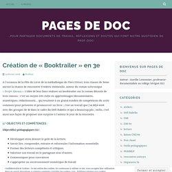 Création de «Booktrailer» en 3e – Pages de Doc