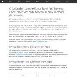 Créer un compte iTunes App Store sans carte bancaire