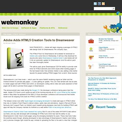 Adobe Adds HTML5 Creation Tools to Dreamweaver
