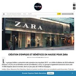 Création d'emploi et bénéfices en hausse pour Zara