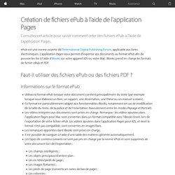 Création de fichiers ePub à l'aide de l'application Pages