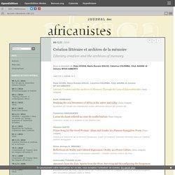 2010 Création littéraire et archives de la mémoire