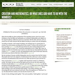 Creation and Mathematics; or What Does God Have to do with the Numbers?