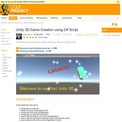 Unity 3D Game Creation using C# Script