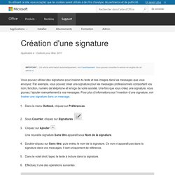Création d'une signature - Outlook for Mac