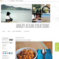 Angry Asian Creations: spaghetti-Os with venison meatballs