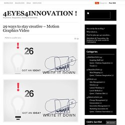 29 ways to stay creative – Motion Graphics Video « 4EYES4INNOVATION !