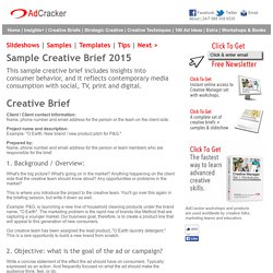 Sample Creative Brief 2015 for advertising and design projects