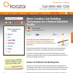 More Creative Link Building Techniques for a Natural Backlink Profile
