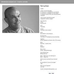 Creative comrades: Tom Lynham