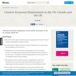 Creative Economy Employment in the US, Canada and the UK