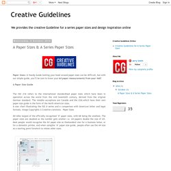 Creative Guidelines- Get Guidelines for A Paper Sizes Online