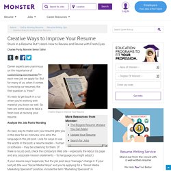 Creative Ways to Improve Your Resume