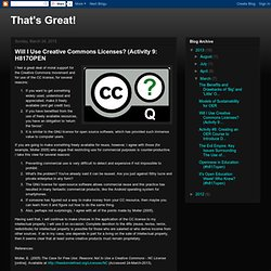 Will I Use Creative Commons Licenses? (Activity 9: H817OPEN