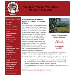 Whidbey Island Writers Association - MFA Program