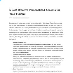5 Best Creative Personalized Accents for Your Funeral – Remember Your Loved Ones