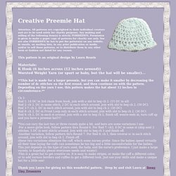 Creative Preemie Hat ~ Very easy crochet hat for preemie to fullterm babies.