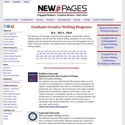 Creative Writing Programs - MFA, PhD, MA - NewPages.com