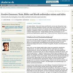 Creative Commons: Urheberrechte dosiert freigeben, Texte, Bilder und Musik rechtssicher nutzen und teilen - Online lernen bei akademie.de
