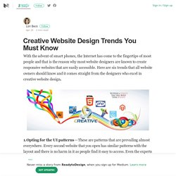 Creative Website Design Trends You Must Know – ReadytoDesign – Medium