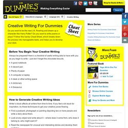 Creative Writing For Dummies Cheat Sheet