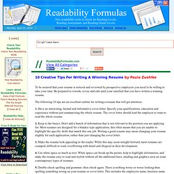 10 CREATIVE TIPS FOR WRITING A WINNING RESUME by Paula Zuehlke