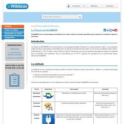 La Check List SCAMPER / 3 - Les outils de la créativité (6 articles) / LeanOvation / Articles / Accueil - WikiLean