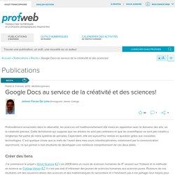 Google Docs au service de la créativité et des sciences!