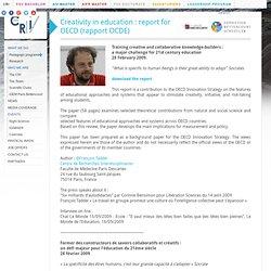 Centre de Recherche Interdisciplinaire - Rapport OCDE sur la créativité dans l'éducation