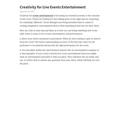 Creativity for Live Events Entertainment