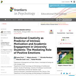 Emotional Creativity as Predictor of Intrinsic Motivation and Academic Engagement in University Students: The Mediating Role of Positive Emotions