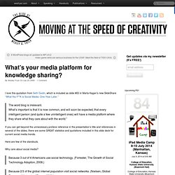 What's your media platform for knowledge sharing? » Moving at the Speed of Creativity