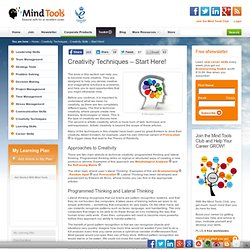 Creativity Processes, Creative Thinking and Lateral Thinking from MindTools