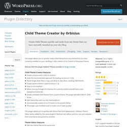 Child Theme Creator by Orbisius — WordPress Plugins