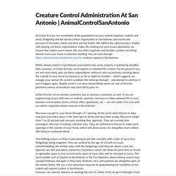 Creature Control Administration At San Antonio