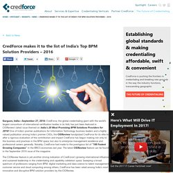 CredForce makes it to the list of India's Top BPM Solution Providers – 2016