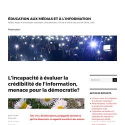 L'incapacité à évaluer la crédibilité de l'information, menace pour la démocratie? – ÉDUCATION AUX MÉDIAS ET À L'INFORMATION
