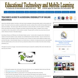 Teacher's Guide to Assessing Credibility of Online Resources